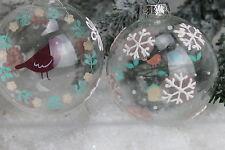 Gisela Graham Navidad Vidrio Transparente Vintage Bola de árbol Imagen Disco x2