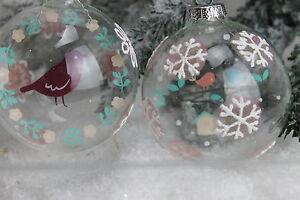 Gisela graham Navidad Vidrio Transparente Vintage Bola Con Imagen Disco X 2