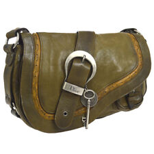 Authentic Christian Dior Gaucho Shoulder Bag Khaki Leather Italy Vintage  AK27607  d36917b0076