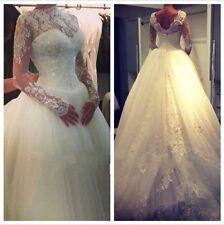 Princess Wedding Dresses 2015 Long Sleeves Sheer Ball Bridal Gowns custom made