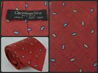 Vtg DIOR Red Oval Framed Pine DESIGNER High End Skinny Luxury Neck Tie Silk