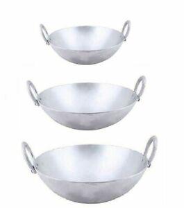 Cast Aluminium Wok Kadai Kadhai Deep Frying & Cooking Pot 2 Handle - No Lid