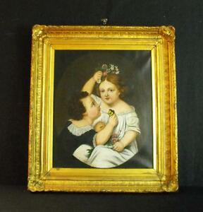 Antique Oil on Canvas Painting Vibrant Portrait Of Children with Flowers 1890's