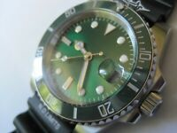 30M DIVERS SUBMARINERS GENTS AUTO MECHANICAL WATCH GREEN DIAL- SEIKO ALTERNATIVE