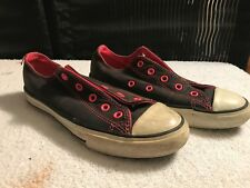 Kids Converse All Star Black & Pink Low top Shoe Kids Size 2 US Need Laces