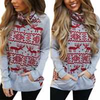 Fashion Women/'s Elk Snowflake Fleece Christmas Jumper Pullover Tops Outwear YU
