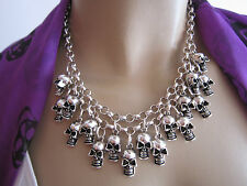Collier kurz Hals Kette Modekette Silber Statement Blogger Totenkopf Skull SK2