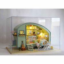 DIY Wooden Dolls House Miniature Kit Caravan Doll House Music Box Xmas Gift NEW
