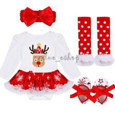 Baby Girl Xmas Gift Romper Jumpsuit Tutu Outfit Babygrows Dress Clothes Set 0-9M