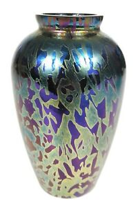 Lovely Royal Brierley Studio Art Cobalt Blue Iridescent art Vase