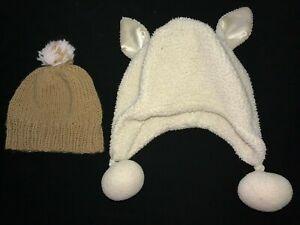 girls BABY GAP fleece winter hat size XS/S ears tan stretch beanie 2 pc @@
