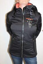 Sportalm Kitzbühel Femmes Veste De Ski Cat à capuche Noir Orange Taille 44 XXL