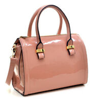 Dasein Women Medium Small Patent Leather Handbag Bucket Satchel Tote Bag Purse