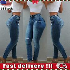 Women Casual High Waist Ripped Denim Skinny Stretch Jeans Slim Trousers Pants