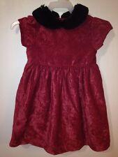 "Gymboree ""Victorian Charm"" 12-18 Months Burgundy Rose Dress Faux Fur Collar"