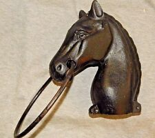 HORSE HEAD HITCHING POST, Cast Iron w Ring