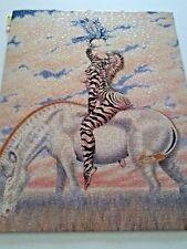 Vtg Fantasy Zebra Lady Horse Bird Puzzle already put together and Laminated
