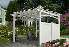 New England Arbors Pergola Flat Privacy Wall 12' VA42027