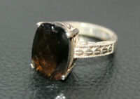 Statement Sterling Silver 14 ct Radiant Faceted Smokey Topaz Women's Ring Sz 6.5
