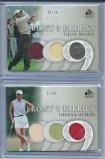 2004 SP Signature Front 9 Fabric Triple Lot Lorena Ochoa Tiger Woods Both #1/50