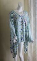 NEW Woman Within Sz 4X Breezy Rayon Vibrant Floral Art-Wear Long Tunic Shirt Top