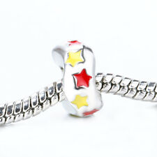 NEW Star Red Yellow Enamel Spacer Bead Fit 925 Silver Charms Bracelet