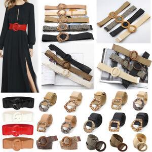 Women Boho Braided Wide Fashion Belt Cinch Waist Belt Elastic Stretch Gifts AU