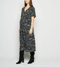 NEW Look Maternity Kleid Gr. 8,10 & 12 Schwarz Animal Print Midi Wrap ez24