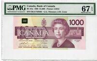 Canada $1000 Dollar Banknote 1988 BC-61a PMG Superb GEM UNC 67 EPQ - Rare Grade