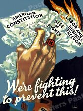 "1943 ""We're Fighting to Prevent This!"" Vintage Style WW2 Poster - 24x32"