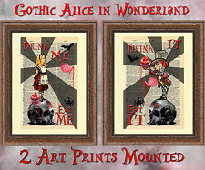 Original art print dictionary book page gothic Alice in Wonderland mad hatter