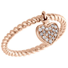 10K Rose Gold Round Diamond Dangling Heart Braided Right Hand Ring 1/10 Ct.