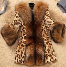 Womens Fur Leopard Jacket Winter Coat Mid Long Snow Warm Parka Outwear Overcoat