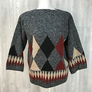 Vtg Sweater Black Diamond rust cream space dye 70's 80's ethnic hippy 3/4 Sleeve