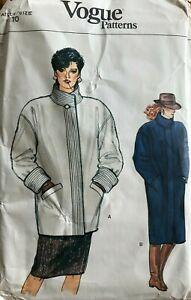 Vtg 80's Coat Pattern Vogue 8803 Misses' Jacket sz 10 UNCUT Standing Collar