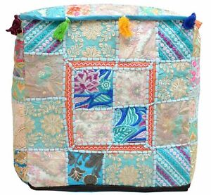 "Indian Pouf Cover Handmade Patchwork Cotton Vintage Ottoman Square 16X16"" Inches"