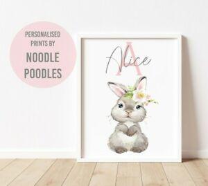 Woodland Bunny Rabbit Nursery Print Baby Kids Room Pictures Wall Art Boy Or Girl