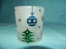 Frosted Christmas Scene Daylight Holder, New, Lg. Tealight, Votive Candle Holder