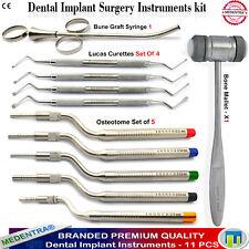 Dental Sinus Offset Osteotome Set Surgical Lucas Curettes Bone Graft Syringe Kit