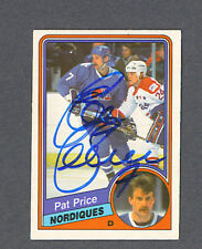 Pat Price signed Nordiques 1984-85 Opc hockey card