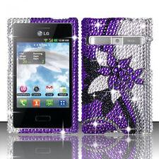 LG Optimus Logic L35G Dynamic L38G Crystal BLING Case Cover Purple Silver Vines