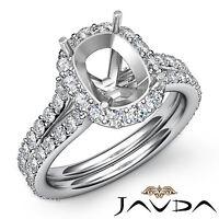 Diamond Engagement Cushion Shape Semi Mount Split Shank Ring Platinum 950 1.32Ct