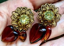 Vintage Miriam Haskell Dangle Heart Earrings...Charming!