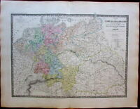 Germany German Empire Europe Prussia Austria 1875 large old engraved map