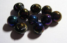 10 x Pearly BLACK AB Colour Domed Shank Back Buttons approx. 10mm Wide (FF11B)