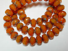 25 8x6mm Orange Opal Picasso Czech Fire polished Rondelle beads