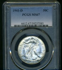 1941-D WALKING LIBERTY PCGS MS67 --- DAZZLING BRIGHT WHITE COIN, INSANE LUSTER