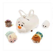 "Disney Store Olaf Frozen Fever ""Tsum Tsum"" Plush Bag & 4 Minis Anna Elsa Snowgie"