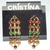 Vintage signed Cristina multi color rhinestone gold tone mesh dangle earrings