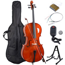 Goplus Wood 4/4 Full Size Acoustic Cello w/ Case+Bow+Stand+Strings+Tuner+Rosin